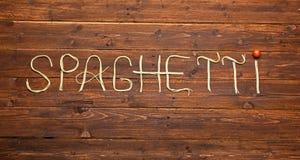 Słowo robić spaghetti makaron zdjęcie royalty free
