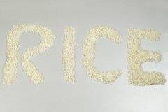 Słowo ryż pisać z ryżowymi adra Zdjęcia Royalty Free