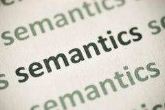 Słowo semantyka drukować na papierowy makro- Zdjęcie Stock