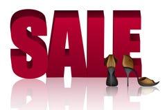Słowo sprzedaż i Złoci sandały z szpilkami Fotografia Royalty Free