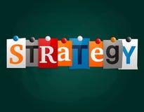Słowo strategia robić od gazeta listów dołączających noticeboard z magnesami lub blackboard wektor Obraz Royalty Free