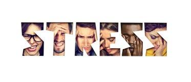 Słowo stres robić desperacka nieszczęśliwa grupa ludzi zdjęcia royalty free