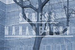 Słowo stresu zarządzanie pisać na budynku drzewa i rusztowania tle Zdjęcia Royalty Free