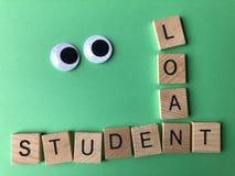 Słowo Studencka pożyczka, Kreatywnie pojęcie obraz stock