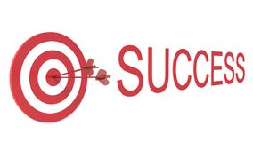 Słowo sukces z celem na białym tle ilustracja wektor