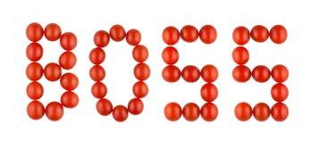 Słowo szef robić od czerwonych pomidorów na białym tle zdjęcie stock