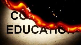 Słowo szkoły wyższa edukacja na papierowym paleniu w płomieniach popióły ilustracja wektor