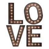 Słowo sztuki miłość w światłach Zdjęcia Royalty Free
