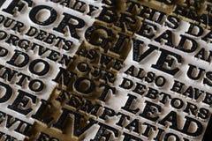 Słowo władyki ` s modlitwa na starym czerni wietrzał drewniane śliwki zdjęcie stock