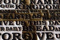 Słowo władyki ` s modlitwa na starym czerni wietrzał drewniane śliwki obraz royalty free