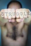 Słowo walka pisać na pięściach mężczyzna Zdjęcia Royalty Free