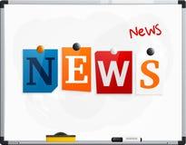 Słowo wiadomość robić od gazeta listów dołączających noticeboard z magnesami lub whiteboard Markiera pióro wektor royalty ilustracja