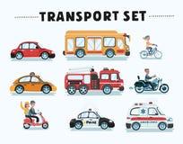 Służby Publicznej, budowy I drogi Pracujący samochody Ustawiający Kolorowe Zabawkarskie kreskówek ikony, ilustracja wektor