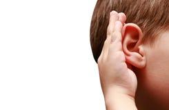 słuchać słucha chłopiec Obraz Stock