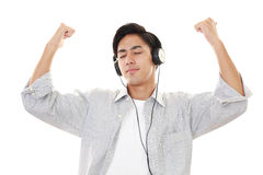 słuchał muzyki człowieka Zdjęcia Royalty Free