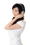 słucha kobiet muzycznych potomstwa obrazy stock