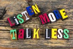 Słucha więcej rozmowę mniej letterpress fotografia stock