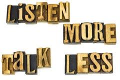 Słucha więcej rozmowę mniej motywaci zdjęcie royalty free