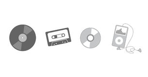 słuchająca ewoluci muzyka ilustracja wektor