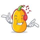 Słuchająca muzyczna butternut kabaczka maskotki kreskówka ilustracji