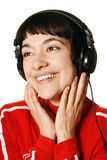 słuchająca muzyczna kobieta zdjęcia royalty free