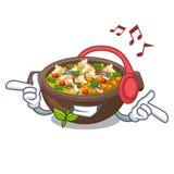 Słuchająca muzyka smażył minestrone w filiżanka charakterze ilustracji