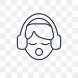 Słuchająca wektorowa ikona odizolowywająca na przejrzystym tle, liniowym ilustracji