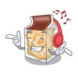 S?uchaj?ce muzyczne wieprzowin sk?rki w maskotce kszta?tuj? ilustracja wektor