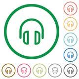Słuchawek zarysowane płaskie ikony Obrazy Stock