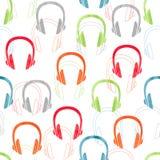 Słuchawka bezszwowy wzór podkład muzyczny wektor Fotografia Royalty Free