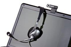 słuchawki laptopu kamera internetowa zdjęcie stock