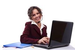słuchawki laptopu kobieta zdjęcie royalty free