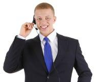 słuchawki pracownik męski używać Zdjęcie Stock