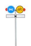 Słupów znaki jechać na rowerze pas ruchu i samochodu pas ruchu odizolowywających Zdjęcie Stock