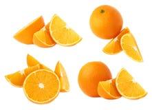 Słuzyć pomarańczowy owocowy skład odizolowywający nad białym tłem, set różni foreshortenings Fotografia Stock