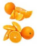 Słuzyć pomarańczowy owocowy skład odizolowywający nad białym tłem, set różni foreshortenings Zdjęcie Stock
