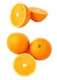 Słuzyć pomarańczowy owocowy skład odizolowywający nad białym tłem, set różni foreshortenings Obraz Stock