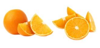 Słuzyć pomarańczowy owocowy skład odizolowywający nad białym tłem, set różni foreshortenings Zdjęcia Stock