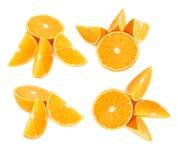 Słuzyć pomarańczowy owocowy skład odizolowywający nad białym tłem, set różni foreshortenings Obrazy Royalty Free