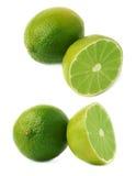 Słuzyć wapno owocowy skład odizolowywający nad białym tłem, set różni foreshortenings Obraz Stock