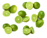 Słuzyć wapno owocowy skład odizolowywający nad białym tłem, set różni foreshortenings Zdjęcie Stock