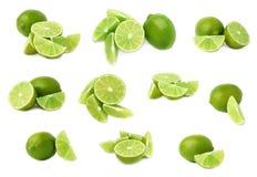 Słuzyć wapno owocowy skład odizolowywający nad białym tłem, set różni foreshortenings Zdjęcia Royalty Free