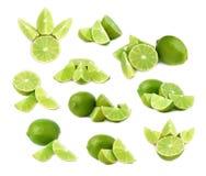Słuzyć wapno owocowy skład odizolowywający nad białym tłem, set różni foreshortenings Zdjęcia Stock