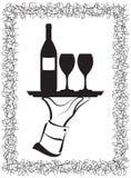 słuzyć wino ilustracji