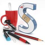 ` S与办公室材料的` 3d信件 免版税库存照片