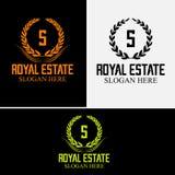 S公司商标豪华旅馆徽章金子上色了围绕皇族经典标志模板 库存图片