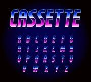 80s减速火箭的未来主义科学幻想小说字体字母表传染媒介 向量例证