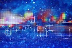 80 ` s减速火箭的样式的未来派减速火箭的背景 数字式或网络表面 霓虹灯和几何样式 免版税库存图片