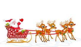 s圣诞老人雪撬 库存照片
