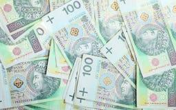 100's擦亮剂兹罗提钞票当金钱背景 免版税库存照片
